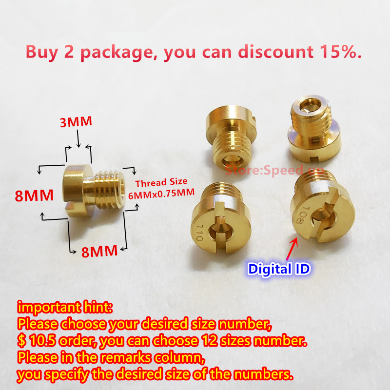 choose Your Size Nc T6 Motorcycle Nc Dellorto Main Jet Phva Carburetor Main Injectors 6mm Whorl Have A Digital Id 12 Pcs/pack Colours Are Striking