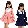 Primavera y otoño ropa infantil para niñas estilo preppy vestidos de algodón collar de la muñeca vestido de la manera del arco de la muchacha sweet girls ropa
