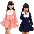 Spring & Autumn Children Clothing For Girls Preppy Style Cotton Dresses Doll Collar Bow Girl's Dress Fashion Sweet Girls Clothes