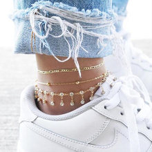 HuaTang Bohemian Gold Color Anklets for Women Water Drop Crystal Multi Layer Leg Bracelet Jewelry Tobillera 7077