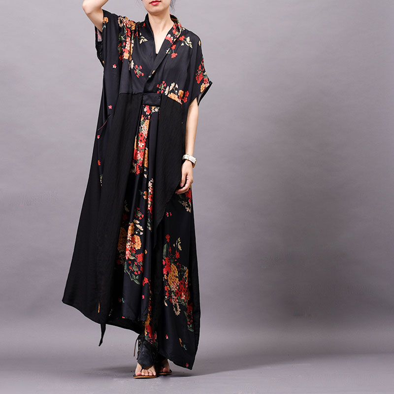 Women Summer Printed Patchwork V neck Dress Ladies Casual Retro Thin Soft Loose Dresses Female Spliced