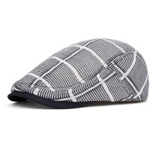 Spring and summer cap male british style font b hat b font large plaid mesh beret