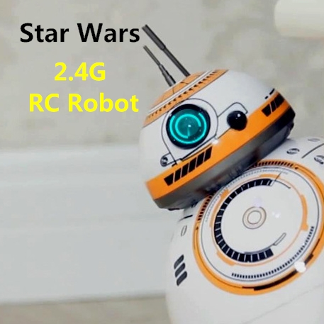 цена Star Wars RC BB-8 Robot Star Wars 2.4G remote control BB8 robot intelligent small ball Action Figure Toys Best Gift Freeshipping