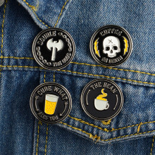 4 stks/set KOFFIE OF DEATH BEAN ax bier Skelet Punk pictogrammen Dark Pins Badge Knop Broche Vrouwen Mannen Shirt Denim kleding sieraden(China)