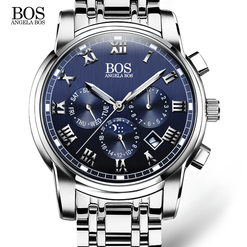 ANGELA BOS Luxury Business Stainless Steel Quartz Watch Men Date Week Month Waterproof Luminous Mens Watches Top Brand gift angela bos cool mens watches top brand luxury quartz watch stainless steel date rhinestones waterproof wrist watches for men