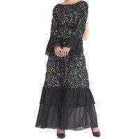 Women Arabic Dress Sequined Islamic Gowns Pakistani Moroccan Muslim Clothing Ramdan Ladies Kaftan Dresses Vestidos Arabes Mujer