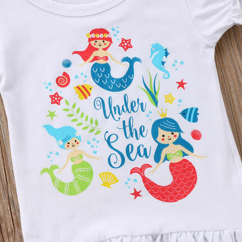 cde6febc0c14 ... Little Mermaid Toddler Kids Girls Clothes Short Sleeve T-shirt Tops+Tassel  Shorts Hot ...