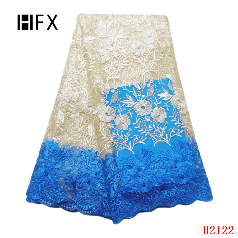 HFX African Fabric Lace Champagne Gold /Sky Blue 2019 Nigeria Embroidery High Quality French Tulle Lace Fabric for Lady X2122HFX African Fabric Lace Champagne Gold /Sky Blue 2019 Nigeria Embroidery High Quality French Tulle Lace Fabric for Lady X2122