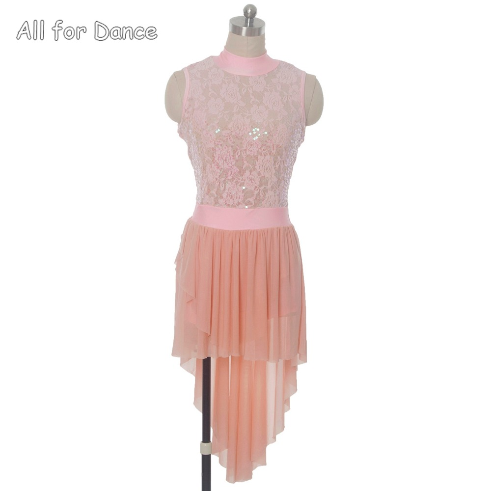 Pink Sequin Lace Adult Ballet/Lyrical/Contemporary Dance Dress For Lady/Girl Stage Performance Cosutme Dance Wear image