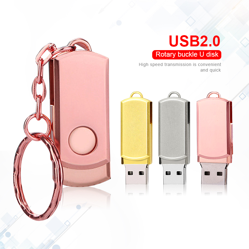 Pen Drive Pink Metal USB Flash Drive Key Ring USB Stick High Speed Pendrive Memory Stick 32GB 16GB 64GB 8GB Memoria Usb 2.0 Gift