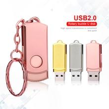 Pen Drive Pink Metal USB Flash Drive Key Ring USB Stick High Speed Pendrive Memory Stick 32GB 16GB 64GB 8GB Memoria Usb 2.0 Gift