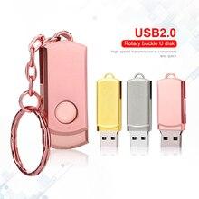 עט כונן ורוד מתכת USB דיסק און קי מפתח טבעת USB מקל במהירות גבוהה Pendrive מקל זיכרון 32GB 16GB 64GB 8GB Memoria Usb 2.0 מתנה