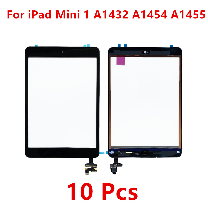 10 Pcs For iPad Mini 1 Touch Screen Sensor Panel Digitizer Home Button With IC Conector For iPad Mini 1 A1432 A1454 A1455 Screen
