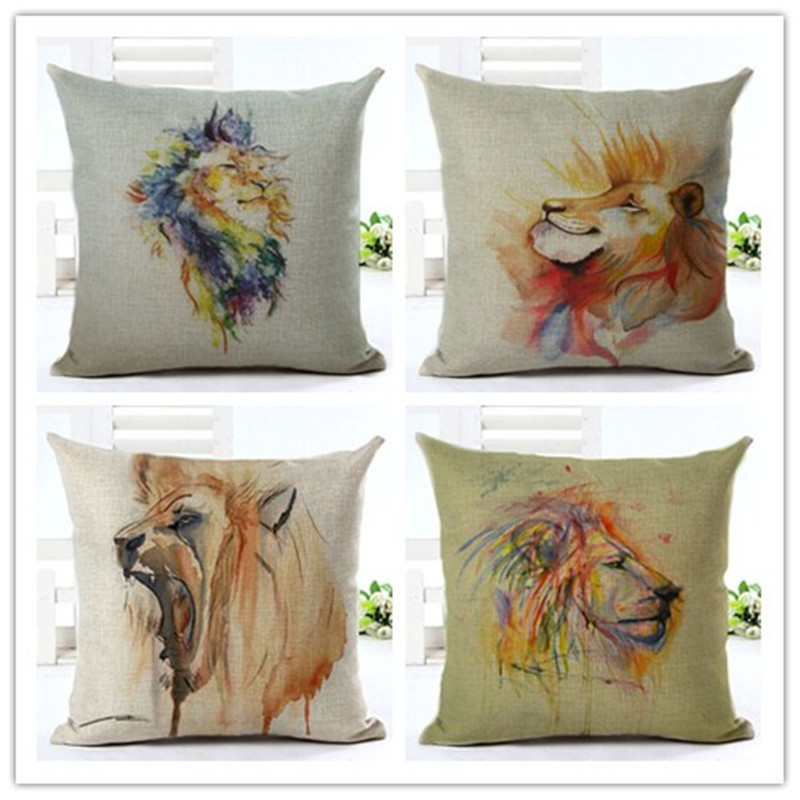 Lion oil painting almofadas sofa throw pillow decorative cushion cove linen pillowcase chair cojines vintage cushions home decor