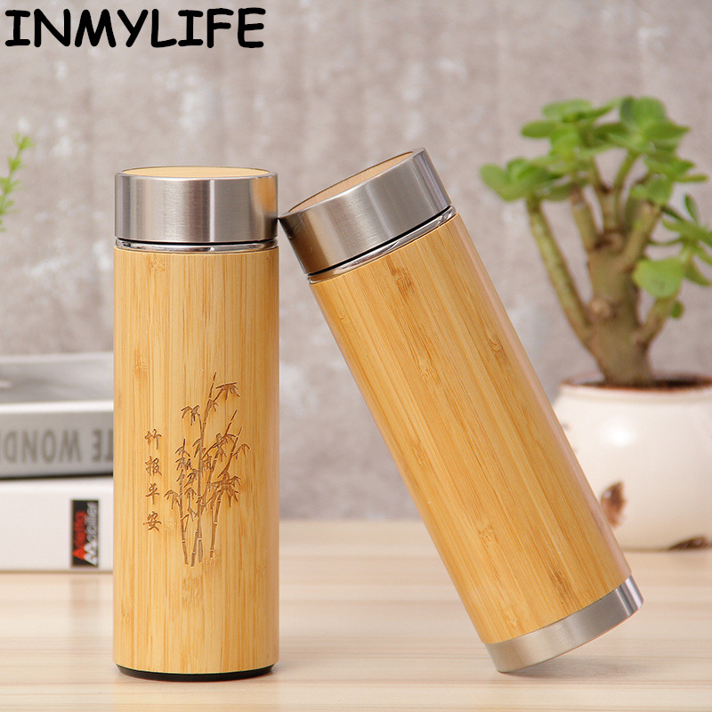 INMYLIFE Bamboo Travel Thermos Stainless Steel Bottles For Water Vacuum Flasks Tea Coffee Insulated 450ml/350ml Cup Gift