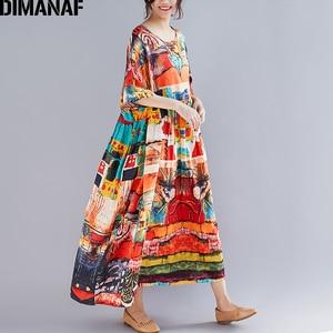 Image 4 - DIMANAF プラスサイズの女性プリントドレス夏のサンドレス綿女性 Vestidos ゆるいカジュアルな休日マキシドレスビッグサイズ 5XL 6XL