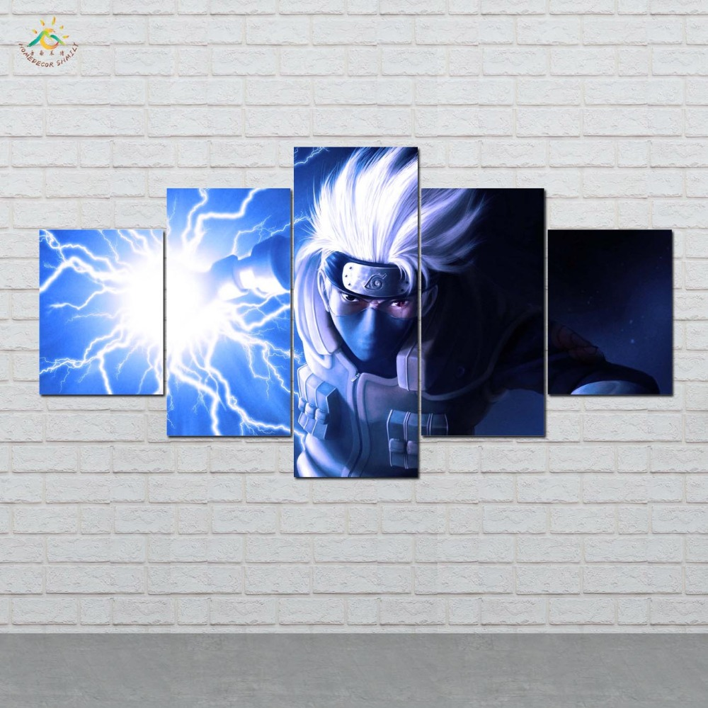 Anime Lightning Naruto Wall Art Canvas Painting Posters and Prints Decorative Picture Decoration Home For Living Room 5 PIECES in Painting Calligraphy from Home Garden