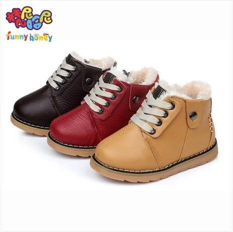 Retails Full Genuine Leather+Fur linning Baby Boy Girl Boots Children's Martin Boots Infant Winter First Walkers Shoes Toddlers