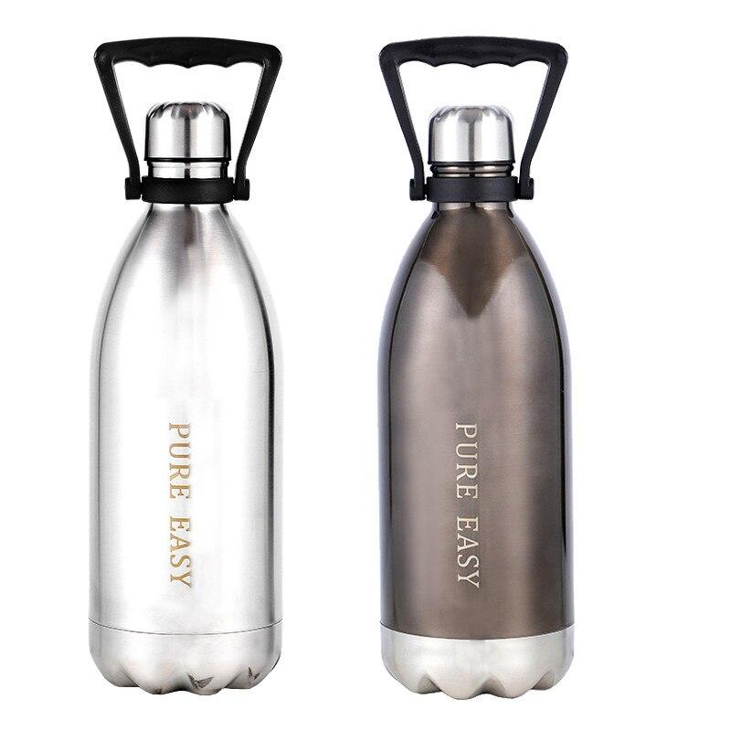 1500 мл большая термоизоляционная бутылка для воды Креативный фирменный дизайн из нержавеющей стали без бисфенола здоровый вакуумный термос