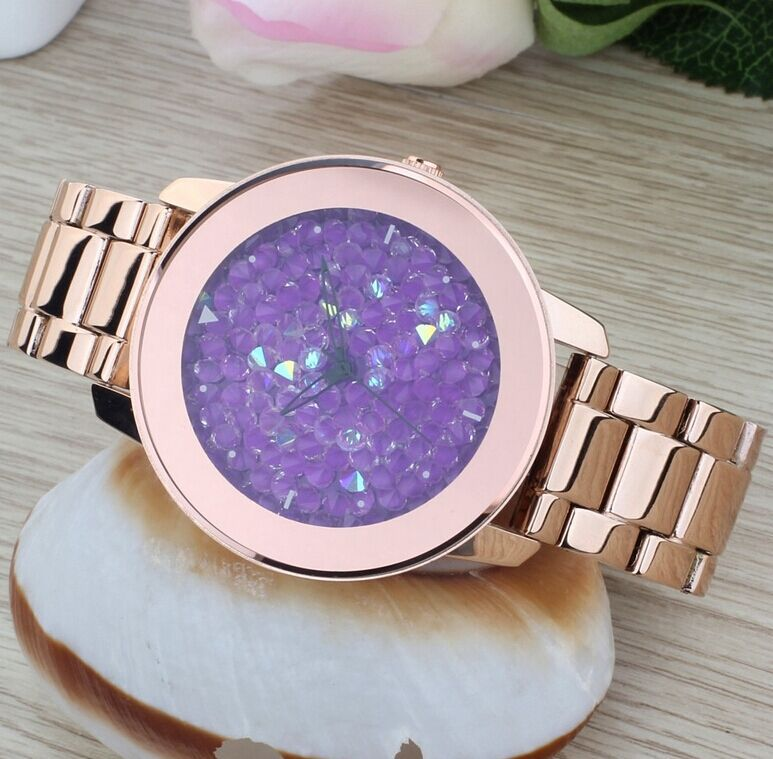 Luxury  Brand Fashion Gold Steel Band Women Watch Crystal Dress Clocks Ladies Full Diamond Rhinestone Quartz Gift Casual Watches luxury big dial brand women watch vilam austria rhinestones miyota movement leather band quartz watch ladies clocks