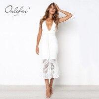 Ordifree 2018 Summer Women White Lace Long Mermaid Dress High Waist Sleeveless Elegnt Lady Sexy Maxi