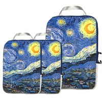 Packing Cubes Travel Organizer Set 3 pcs Compression Packing Cubes for Carryon Luggage Starry Night