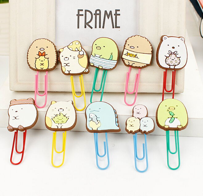 TIAMECH 1Pcs Cute Summiko Gurashi Paper Clip Bookmark Promotional Gift Stationery School Office Supply H1092 hot sale new cute silicone finger pointing bookmark book mark office supply funny gift drop shipping