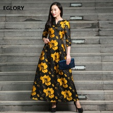XXXL Women Spring Summer Designer Long Dress 2018 Vintage 1950s Style Rockabilly Female Yellow Floral Jacquard Print Dress Maxi