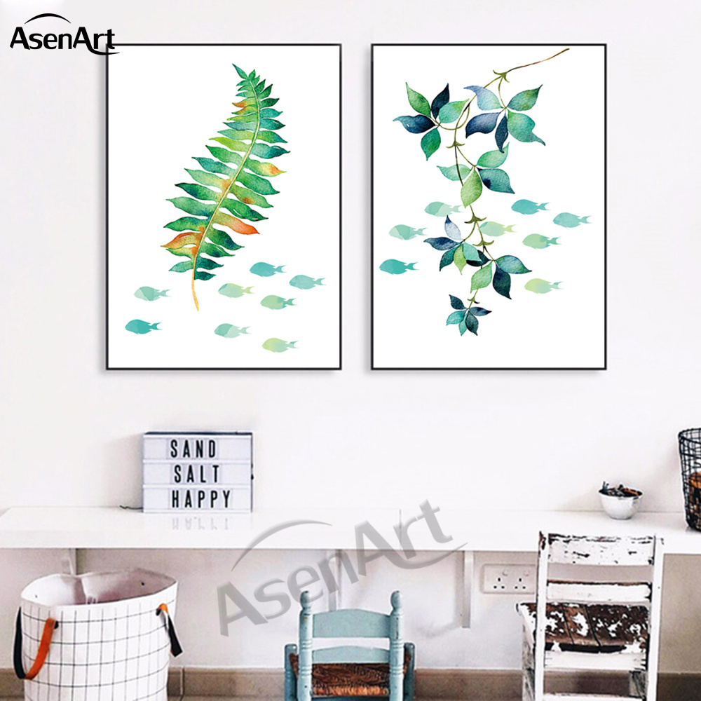 Canvas Painting Nordic Tropical Plant Minimalist Artwork Flutter Green  Leaves Picture Living Room Decorative No Frame