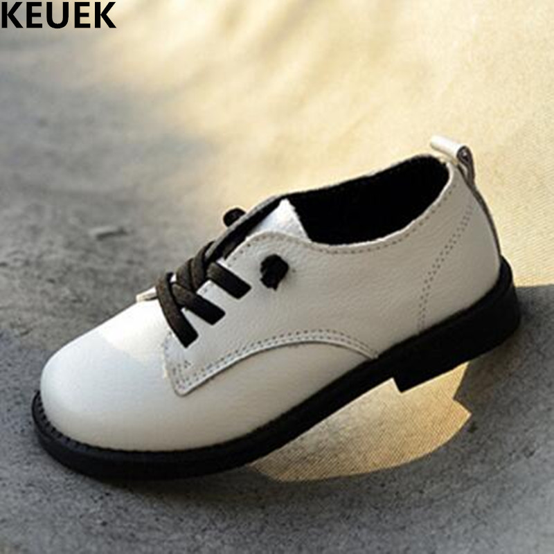 New Spring/Autumn Children Black Leather Shoes Boys Genuine Leather Cowhide Moccasins Student Dress Shoes Kids Baby Shoes 03
