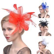 New Fashion Feather Decor Women Bride Hair Hoop Clip Wedding Party Dance Headwear Hair Accessories 1Pc цена и фото