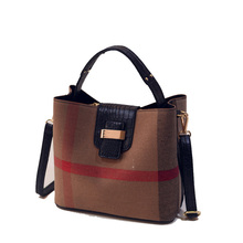 Chic Plaid PU Leather Bucket Bag Women Trendy Crocodile Printing Shoulder Bag Fashion Contrast Color Ladies