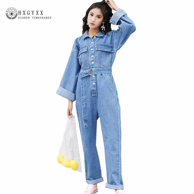 f488fa85078 Plus Size Jeans Jumpsuit Turn Down Collar Long Sleeve Casual Denim Rompers Denim  Jumpsuits With Belt Fashion Overalls Okd244