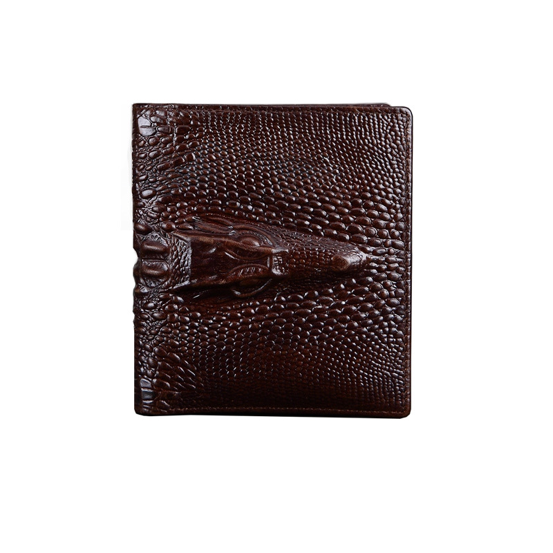 Crocodile Logo Genuine Leather Wallet Men Brown Animal Prints Male Wallet Purse Money Mens Wallet Leather Genuine xoomz for iphone 7 crocodile genuine leather coated plating pc shell brown