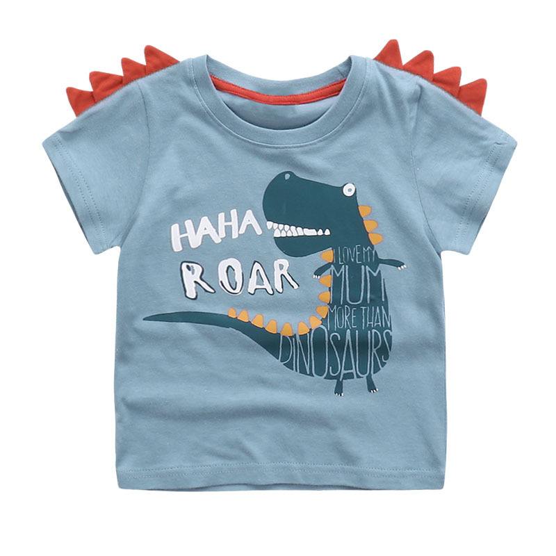 Cute Summer New Girls Boy T-shirt Children's Bottom Kids Lovely 3D Animal Cartoon Shirt Baby Clothes, Dinosaur/ Bear/ Elephant
