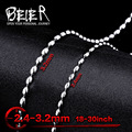 Beier 2.4/3.2mm stainless steel necklace  trendy chain necklace boy man necklace chain Silver Color  BN1001