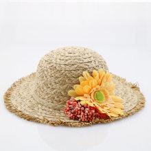 Jujuland 2018 nueva moda padre-niño del sombrero del sol las mujeres del verano  sombreros de paja flor playa Cap niños sombrero . ab674c4a0cc