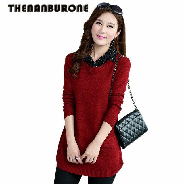 THENANBURONE Womens Fashion 2017 Autumn Winter Sweaters Feminina Cashmere Knitting Wool Dresses Long Turn Down Collar Pullovers