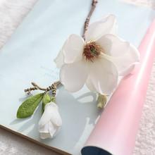 Sztuczne kwiaty na ślub sztuczne sztuczne kwiaty liści Magnolia kwiatowy bukiet ślubny dekoracje na domowe przyjęcie @ P tanie tanio Ślub Z tworzywa sztucznego Bukiet kwiatów WANWEILEG