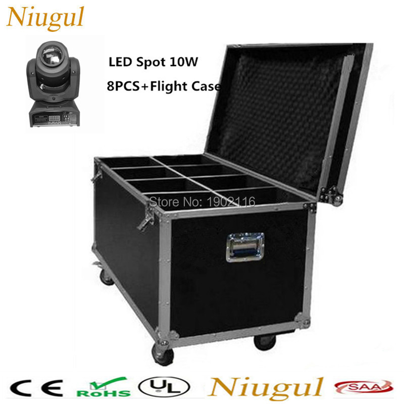 8pcs/lot with a flight case LED 10W gobo light DMX stage effect lights LED moving head light for dj disco KTV party dj equipment 2pcs lot 10w spot moving head light dmx effect stage light disco dj lighting 10w led patterns light for ktv bar club design lamp