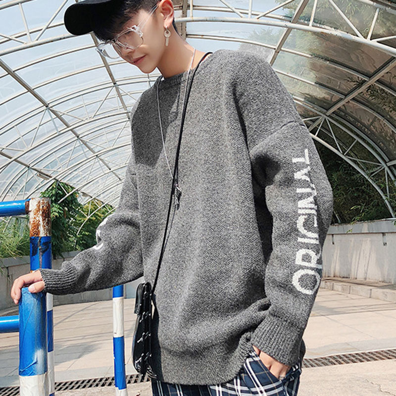 Mens Pullover Sweater 2018 New Fashion Long Sleeve Loose Grey Funny Letter Knitted Sweater Round Neck Oversized Korean Style Men