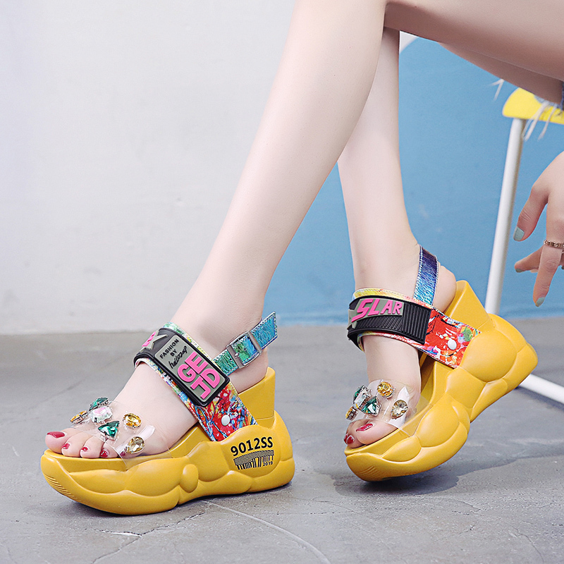 Rimocy Wedges Shoes Sandalias Crystal Open-Toe Female Sexy Fashion Woman Summer Thick-Bottom