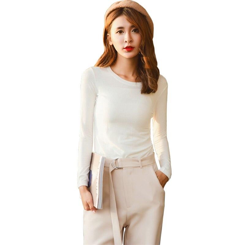 Women Punk T shirt Long Sleeve Side Split Tees Tops Shirt Blusas 2017 Autumn Female Elastic Knitted Pullover Long Black T-shirt