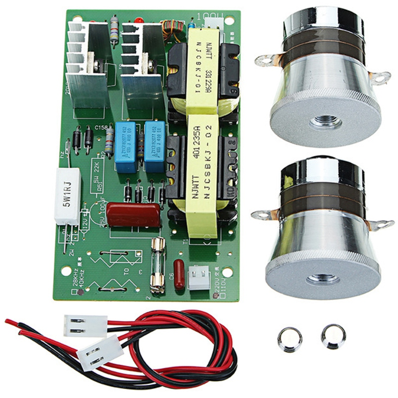 HOT!Ac 220v 60w-100w Ultrasonic Cleaner Power Driver Frequency Tester Board With 2pcs 50w 40khz Transducers