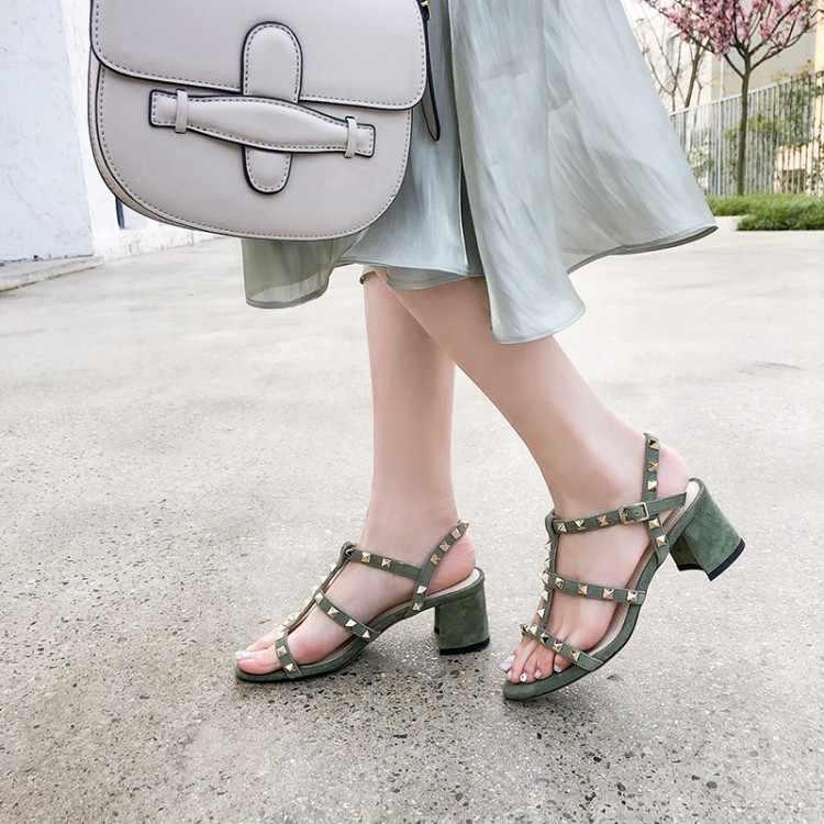Große Größe 9 10 high heels sandalen frauen schuhe frau sommer damen Reine Rom Niet Grobe absätzen Sandalen