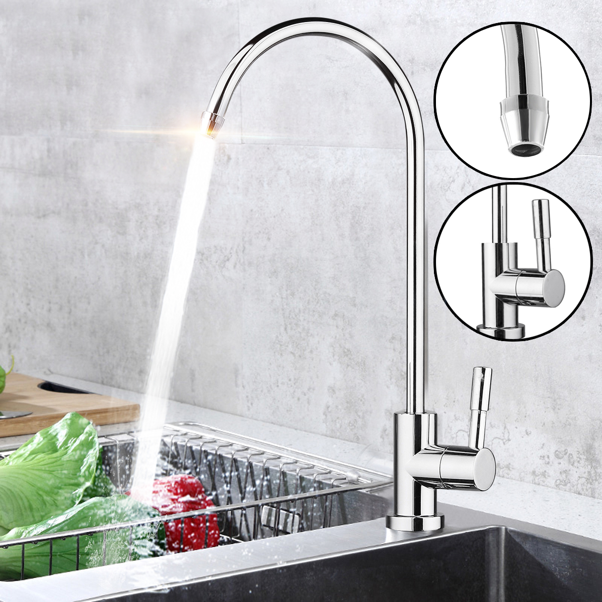 Water Filter Faucet Chrome Plated 1/4 Inch Connect Hose Reverse Osmosis Filters Parts Purifier Direct Drinking Tap Kitchen