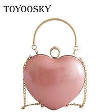 TOYOOSKY Fashion Heart Shaped Women Messenger Bag Elegant Diamonds Chain Shoulder Bags Ladies Wedding Party Banquet Bag Purse недорого