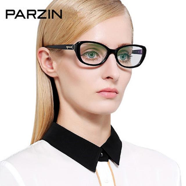 Parzin Óculos De Acetato de Quadros de Mulheres Elegantes Da Moda Full Frame Óculos de Miopia Armações Femininas Preto Com Caso 56003
