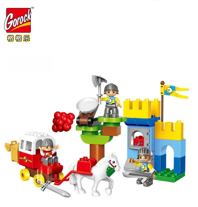 GOROCK 50 pcs soldat château grande taille chariot blocs de construction ensembles modèle briques à monter soi-même jouets compatibles avec Legoed pour les cadeaux de bébé