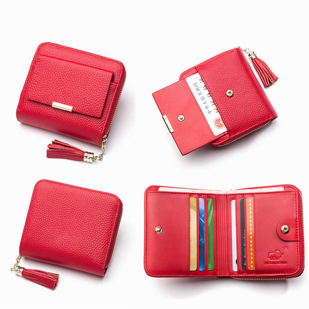 BISON DENIM 100% skórzane damskie torebka na zamek błyskawiczny monety kieszonkowy portfel posiadacz karty portmonetka damska małe carteira feminina N3276